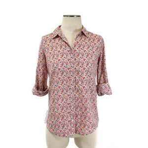 LC Lauren Conrad- Multi Floral Woven Button Down S
